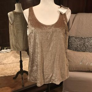 Brunello Cucinelli camel/silver tone top, med, NWT